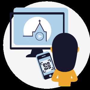 Tijdens de online kerkdienst digitaal collecteren met een QR-code